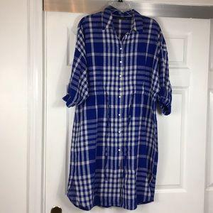Zara Woman. Blue Plaid. Dress. XLarge